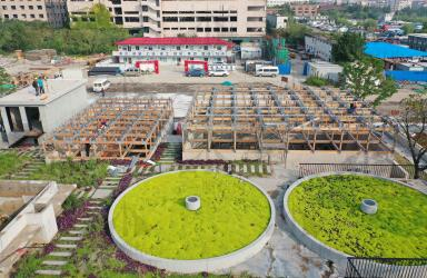 上海示一膜结构浦江充气枕主体木结构工程一阶段