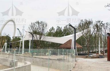 上海示一膜结构南京游泳池遮阳张拉膜工程