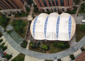 上海示一膜结构南京的浦口区星智汇产业园景观张拉遮阳棚